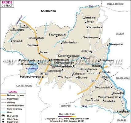Shows the Erode district map which is adopted in this study Figure 2 Erode district map