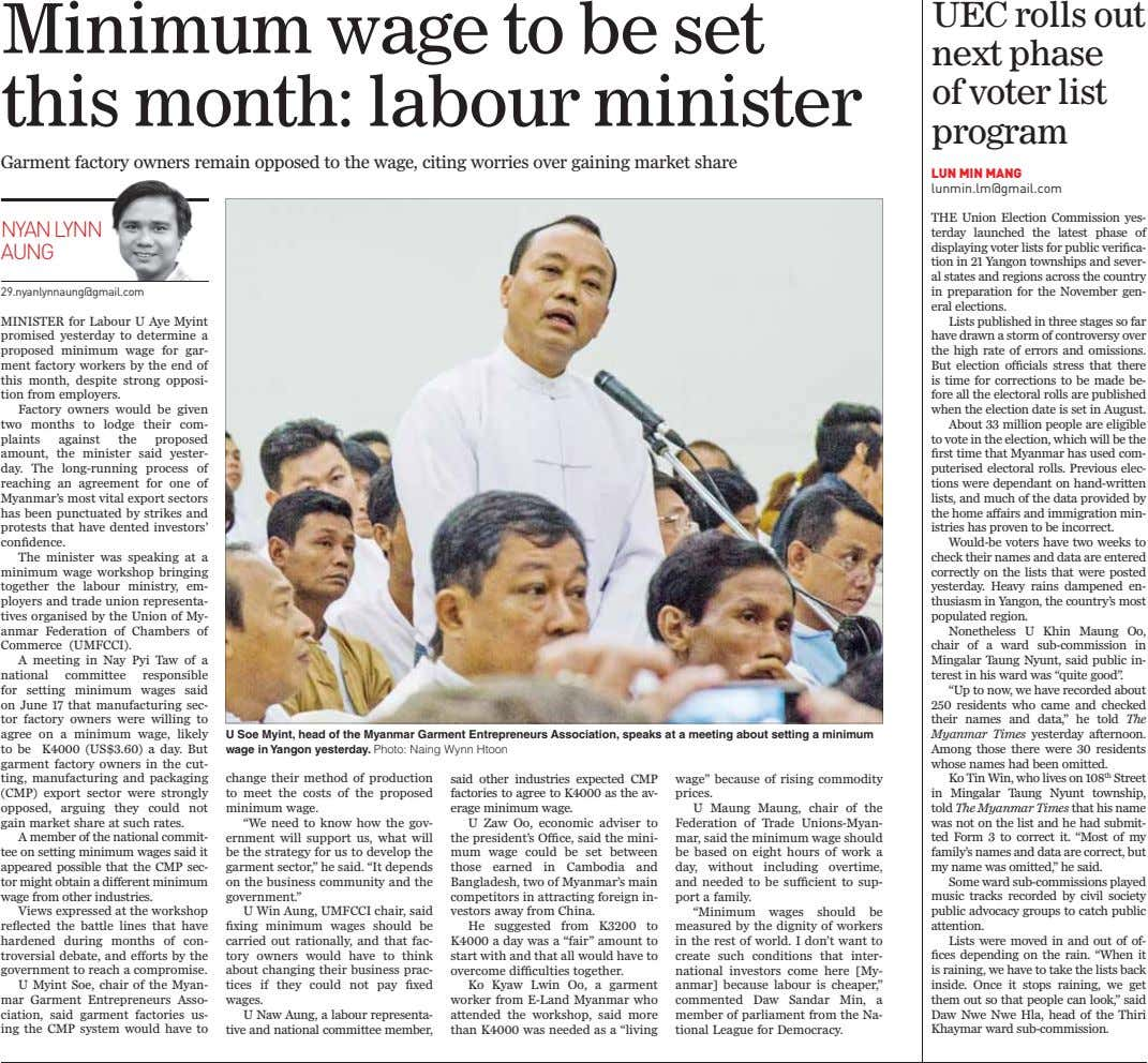 Minimum wage to be set this month: labour minister UEC rolls out next phase of voter