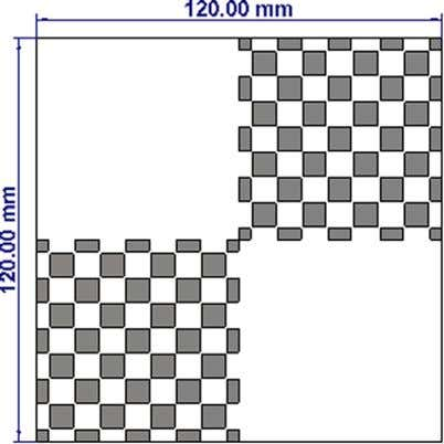fre- quency range where the RCS reduction is happened. Fig. 6. The proposed finite checkerboard surface.