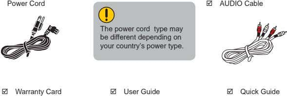 Power Cord AUDIO Cable The power cord type may be different depending on your country's