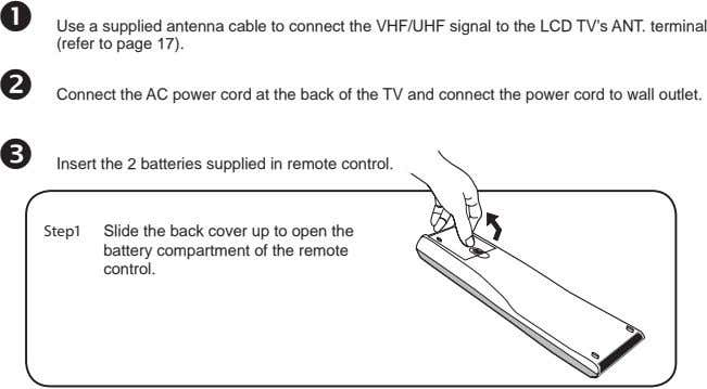 Use a supplied antenna cable to connect the VHF/UHF signal to the LCD TV's ANT.