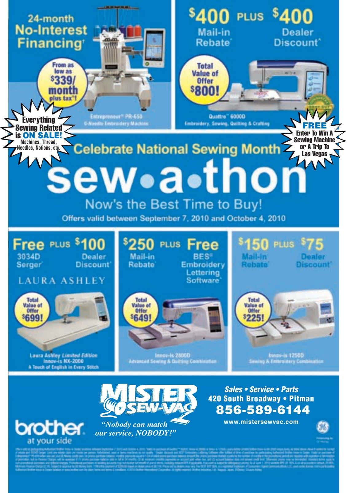 Everything Sewing Related is ON SALE! FREE Machines, Thread, Needles, Notions, etc. Enter To Win