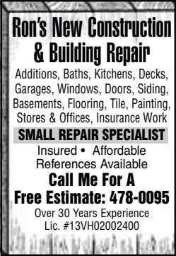 Ron's New Construction & Building Repair Additions, Baths, Kitchens, Decks, Garages, Windows, Doors, Siding,