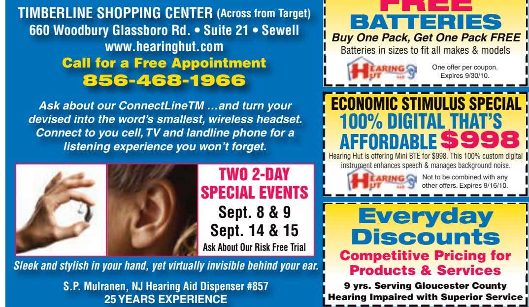 Pricing for Products & Services 9 yrs. Serving Gloucester County Hearing Impaired with Superior Service