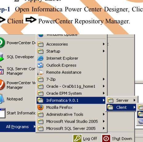 Client PowerCenter Repository Manager.