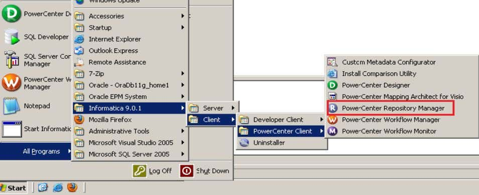 Power Center Designer, Click on Start Informatica 9.0.1 Step-2 Then Connect to Repository in Informatica Power