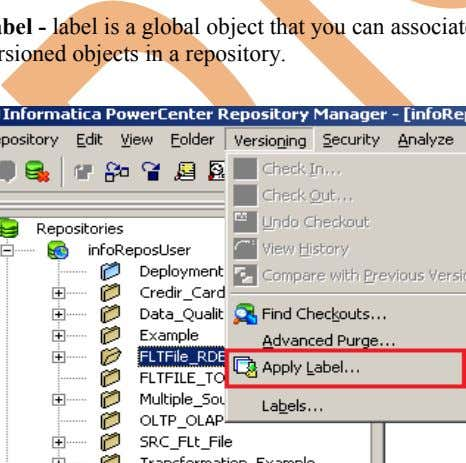 bar, click on Versioning menu and then click on Apply Label. Label - label is a