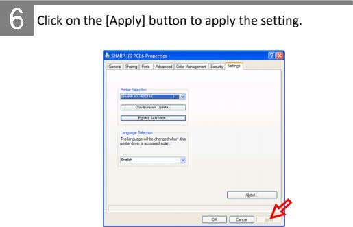 Click on the [Apply] button to apply the setting.