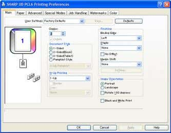 Fig. 4 [Printing Preferences] without a default printer set Fig. 5 [Printing Preferences] with a default