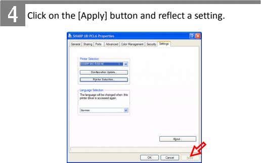 Click on the [Apply] button and reflect a setting.