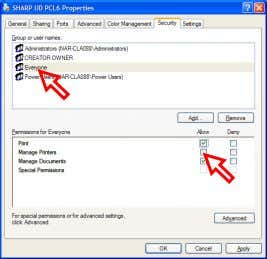 the Control Panel and open the [Properties] of the SHARP UD. Uncheck the [Allow] of the