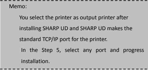 Memo: You select the printer as output printer after installing SHARP UD and SHARP UD