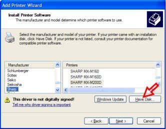 "Click on the [Have Disk…] button. Confirm that ""Printers"" shows ""SHARP UD PCL6"" and click on"