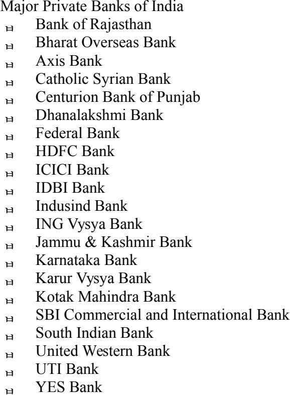            Major Private Banks of India
