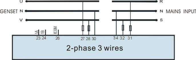 Single phase 2 wires (HGM6120A) 2-phase 3 wires (HGM6120A) 11 Installation The controller is designed to