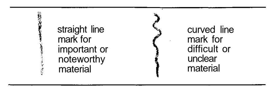 straight line curved line mark for mark for important or difficult or noteworthy unclear material