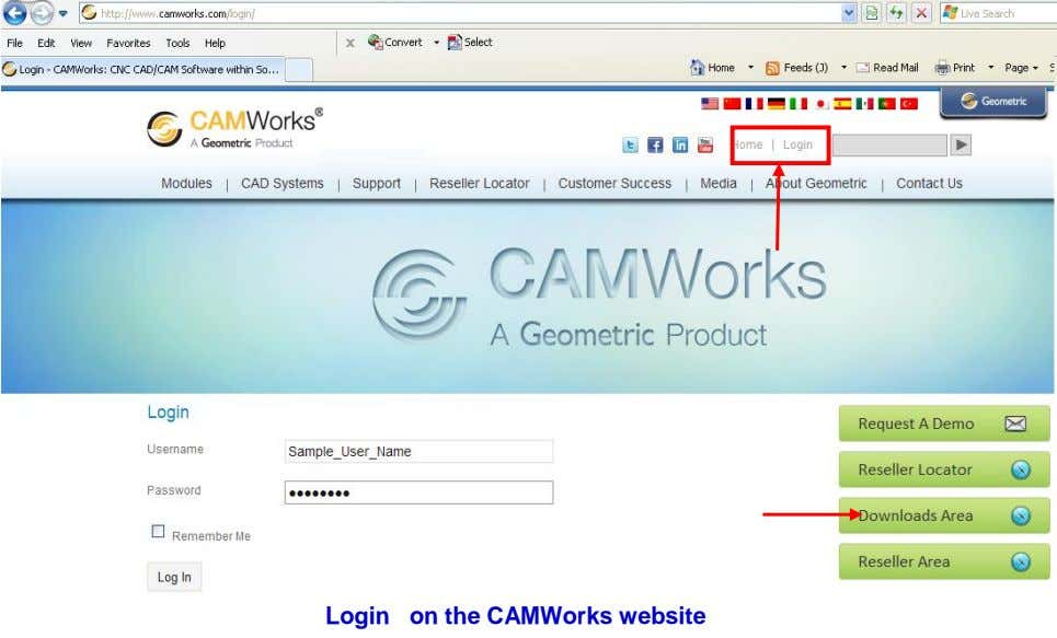 Login on the CAMWorks website