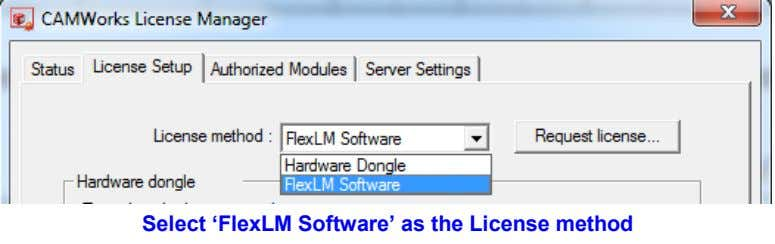 Select 'FlexLM Software' as the License method