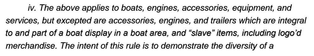 iv. The above applies to boats, engines, accessories, equipment, and services, but excepted are accessories,