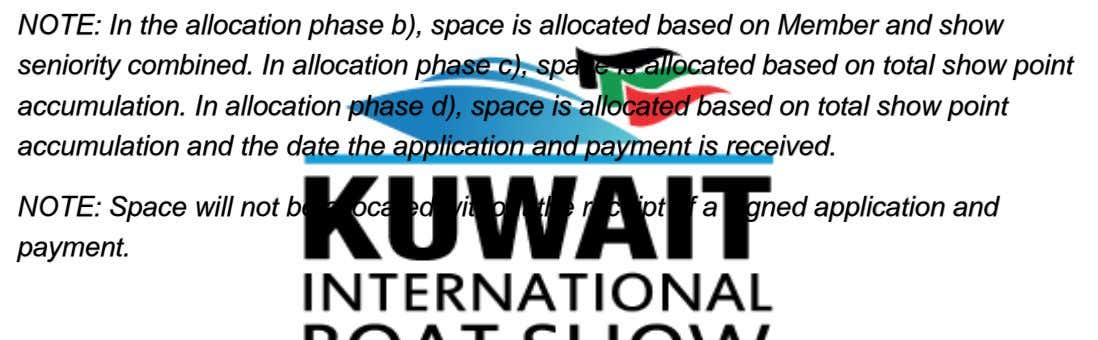 NOTE: In the allocation phase b), space is allocated based on Member and show seniority