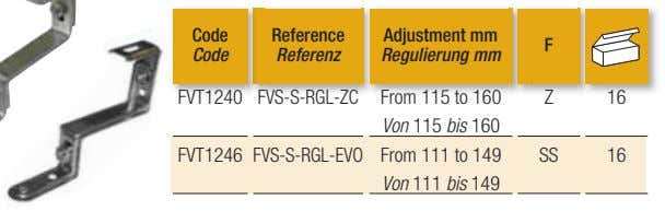 Code Reference Adjustment mm F Code Referenz Regulierung mm FVT1240 FVS-S-RGL-ZC From 115 to 160