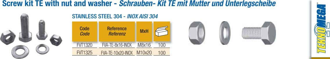 Screw kit TE with nut and washer - Schrauben- Kit TE mit Mutter und Unterlegscheibe