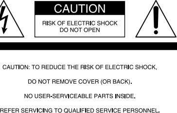 or shock hazard, do not expose the unit to rain or moisture. This symbol is intended