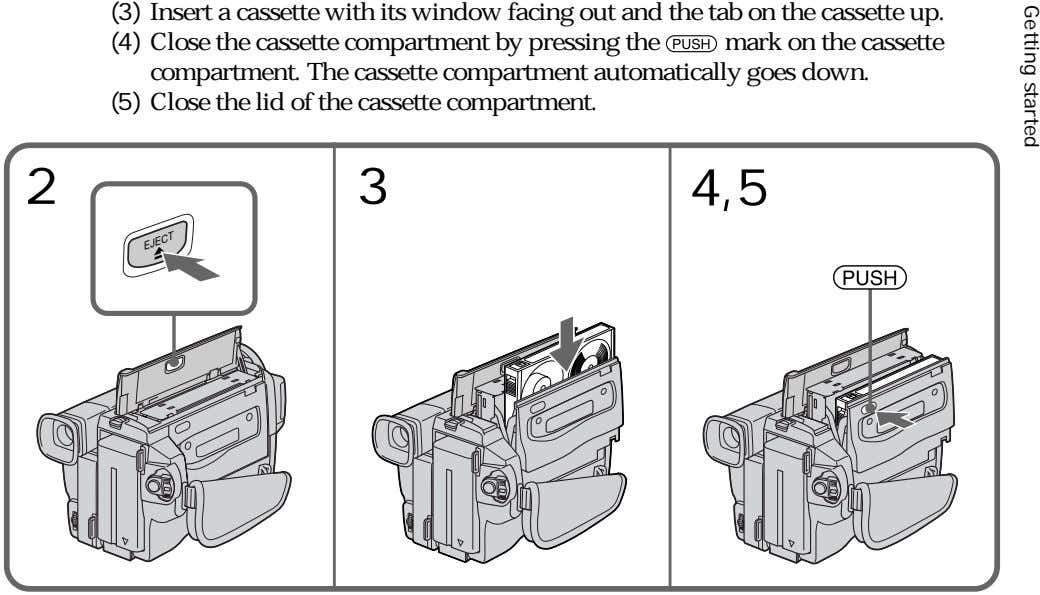 (3) Insert a cassette with its window facing out and the tab on the cassette