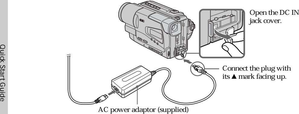 Open the DC IN jack cover. Connect the plug with its v mark facing up.