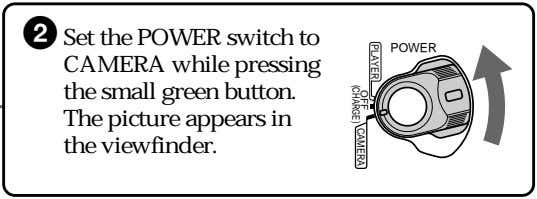 2 Set the POWER switch to CAMERA while pressing the small green button. The picture