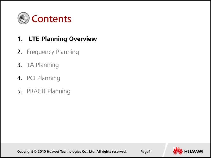 LTE Cell Planning Confidential Information of Huawei. No Spreading Without Permission
