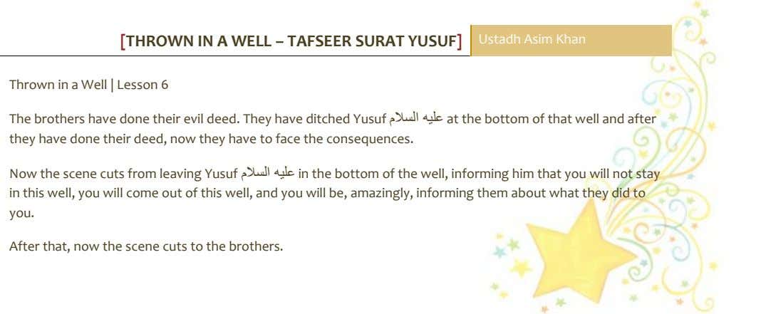 [THROWN IN A WELL – TAFSEER SURAT YUSUF] Ustadh Asim Khan Thrown in a Well