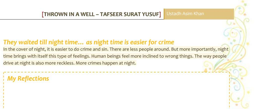 [THROWN IN A WELL – TAFSEER SURAT YUSUF] Ustadh Asim Khan They waited till night
