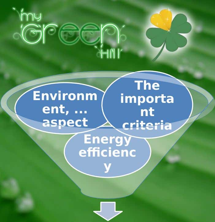 The Environm ent, ... aspect importa nt criteria Energy efficienc y