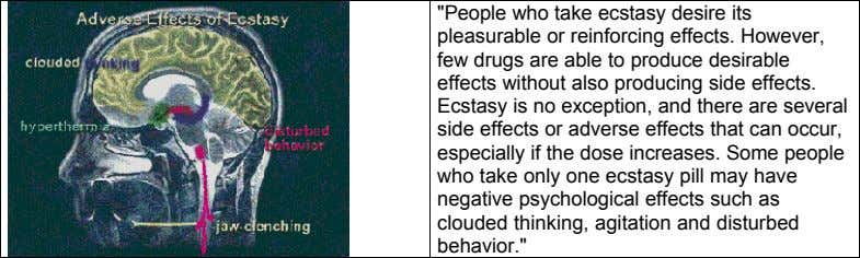 """People who take ecstasy desire its pleasurable or reinforcing effects. However, few drugs are able"