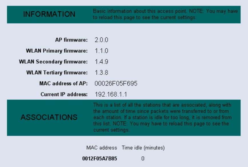 below is the information listed along with an image. AP firmware: displays the version of the
