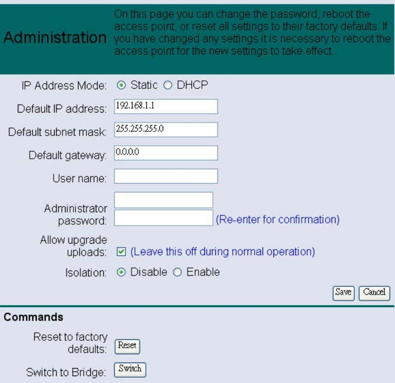 e details on how to configure the administrative settings. IP Address Mode: select Static or DHCP
