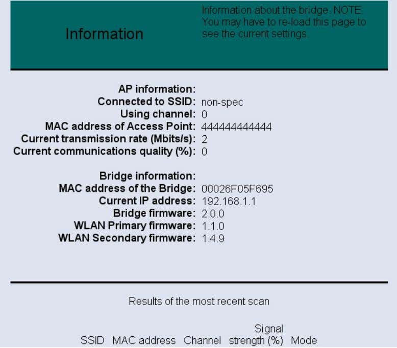 below is the information listed along with an image. Connected to SSID: displays the SSID of