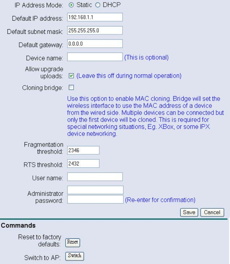 deta ils on how to configure the administrative settings. IP Address Mode: select Static or DHCP