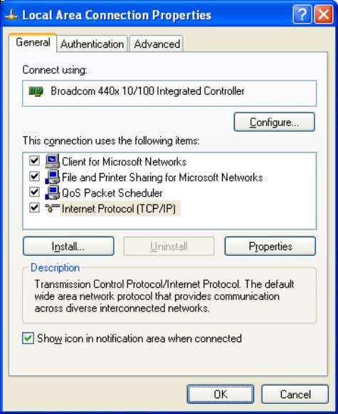 Card (NIC). You will then see the following screen. B. Select Internet Protocol (TCP/IP) and then