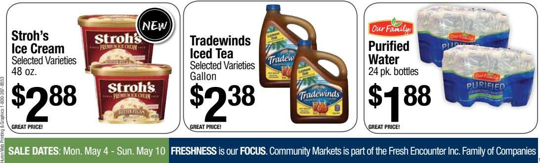 new Stroh's Tradewinds Ice Cream Purified Iced Tea Selected Varieties Water Selected Varieties 48 oz.