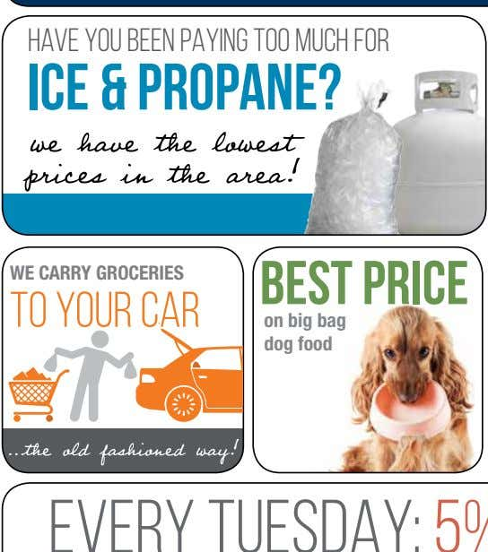 Have you been paying too mucH for ice & propane? WE CARRY GROCERIES best price