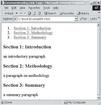 a summary paragraph </body> </html> Figure F.6 Hyperlink tags link documents.