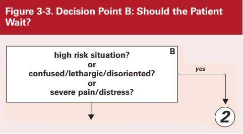 Figure 3-3. Decision Point B: Should the Patient Wait? B high risk situation? or confused/lethargic/disoriented?