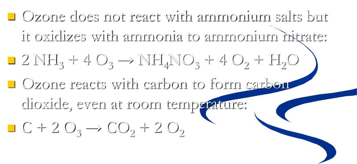  Ozone does not react with ammonium salts but it oxidizes with ammonia to ammonium nitrate: