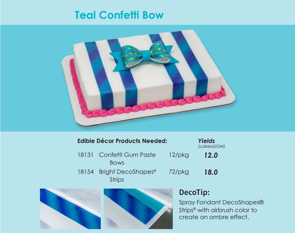Teal Confetti Bow Edible Décor Products Needed: Yields (cakes/UOM) 18131 Confetti Gum Paste Bows 12/pkg