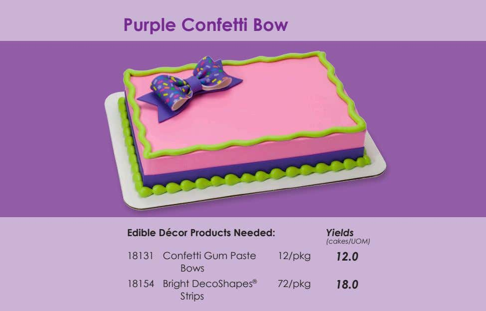 Purple Confetti Bow Edible Décor Products Needed: Yields (cakes/UOM) 18131 Confetti Gum Paste Bows 12/pkg