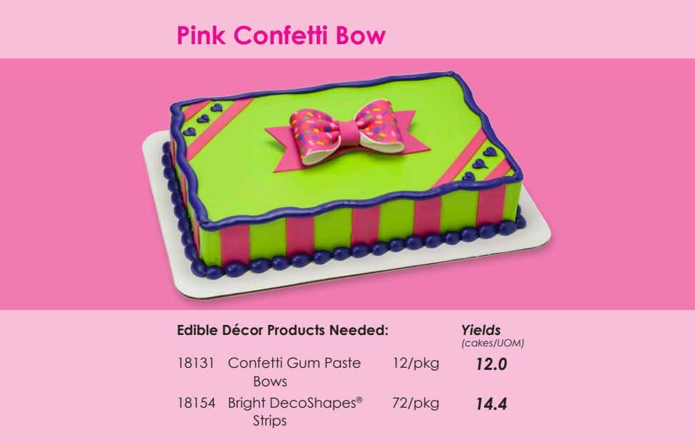 Pink Confetti Bow Edible Décor Products Needed: Yields (cakes/UOM) 18131 Confetti Gum Paste Bows 12/pkg