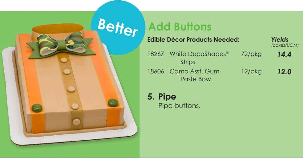 Better Add Buttons Edible Décor Products Needed: Yields (cakes/UOM) 18267 White DecoShapes ® Strips 72/pkg