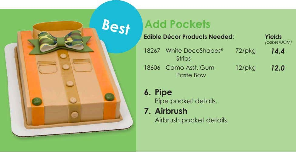 Best Add Pockets Edible Décor Products Needed: Yields (cakes/UOM) 18267 White DecoShapes ® Strips 72/pkg